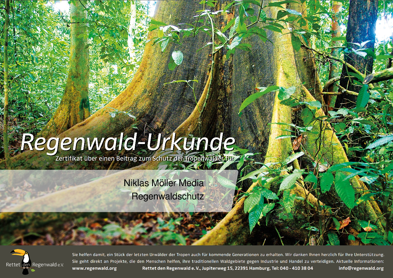 """Urkunde der Spende des Kalenders 2020 an den """"Rettet den Regenwald e.V."""""""